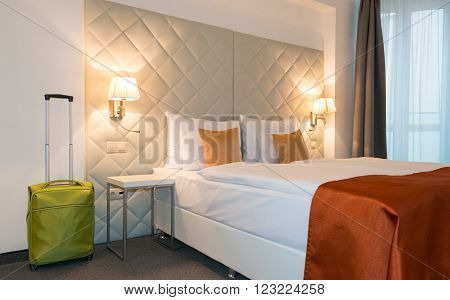 Modern generic hotel room in european country.
