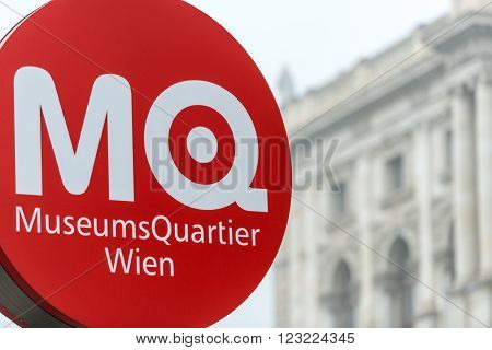 Red and white sign of Museumsquartier in Vienna Austria. City district full of museums and exhibitions. Europe travel.