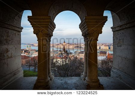 View on parliament building and Danube river from fisherman bastion on Buda hill. Budapest Hungary Europe travel.