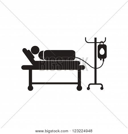 stylish black and white icon patient with dropper