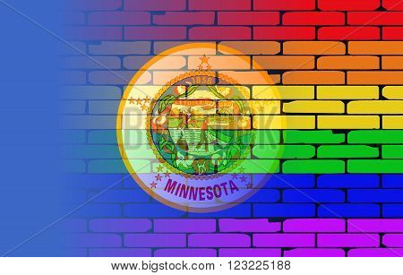 A well worn wall painted with a LGBT rainbow with the Minnesota state flag