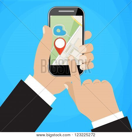 Hand holds smartphone with city map gps navigator on smartphone screen. Mobile navigation concept. Modern simple flat design for web banners, web sites, infographics. Creative vector illustration