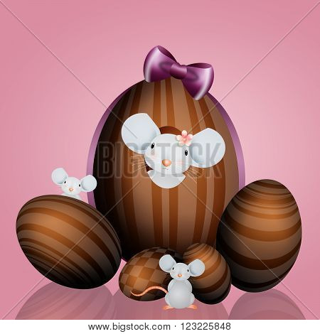 illustration of Chocolate Easter eggs with mouse