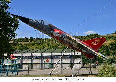 Les Andelys France - august 10 2015 : a Mirage F1 of Normandie Niemen squadron