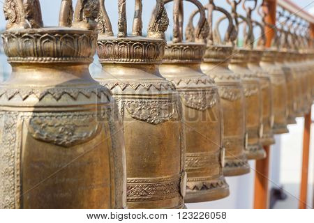 golden bell in temple thailand photo stock