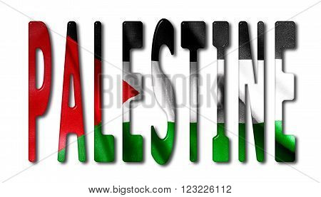 Palestine word with a bevelled flag texture on an isolated white background with a clipping path with and without shadows