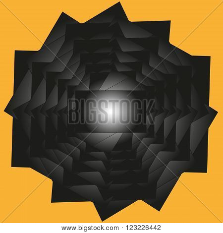 Geometric fantasy illustration Illustration geometric fantasy complex and simple at the same time drawing a ball enclosed in a labyrinth of black on a yellow background