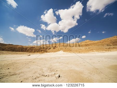 Sand Hills of Samaria, Israel. Sunset against the blue sky