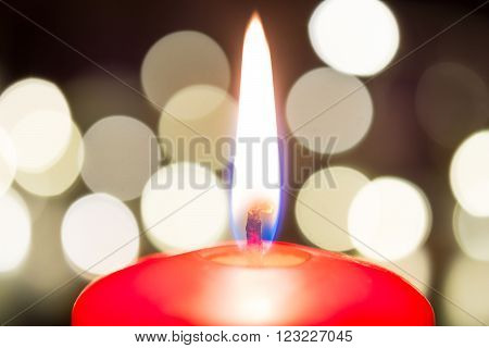 Romantic Valentine Candlelight For Dinner On Wooden Table With Bokeh At Night