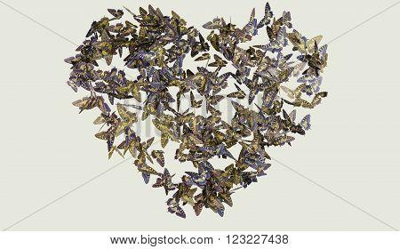 Heart butterfly flight yellow abd blue on white