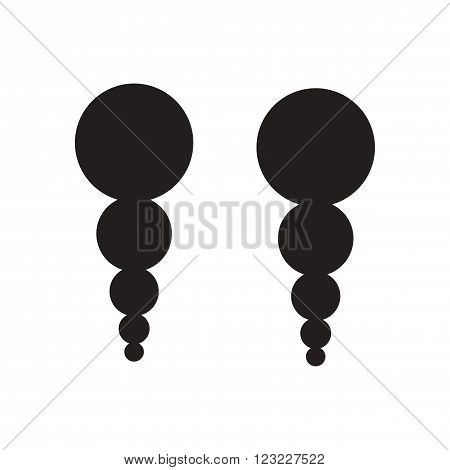 Flat icon in black and white  earrings