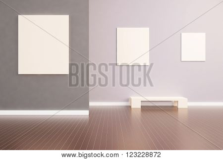 Exhibition Modern Simplicity and Wood Texture luxury Art and picture frame Design