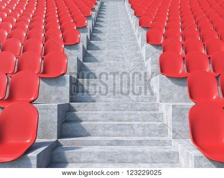 Red plastic seats at stadium aisle between them. Concept of stadium. 3D render