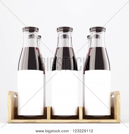Six wine bottles with wide neck in wooden box blank labels on them. White glass. Front view. Concept of bottling wine. Mock up. 3D rendering.