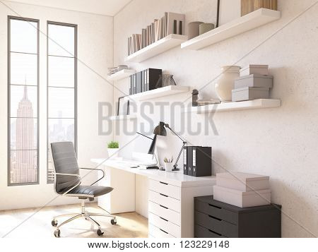 Room in flat table for work shelves above. Concept of workplace. New York view in windows. 3D render