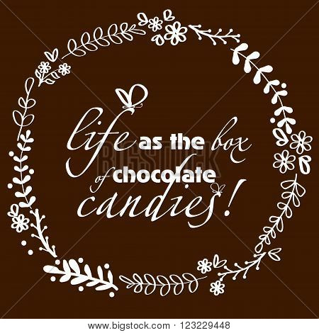 Picture handmade chocolate background Picture white pattern handmade chocolate background with an inscription and a butterfly can be used for decoration and design