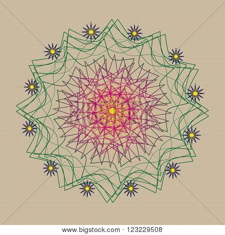 Picture pattern twelve stars Picture pattern twelve stars are attached to the thirteenth openwork big star in the middle illustration is executed in pastel colors for decoration and design