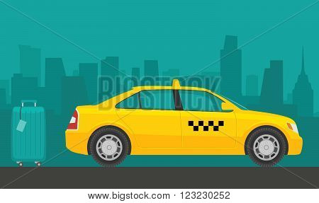 Taxi car. Flat styled vector illustration. City background