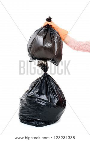 Woman Keep Garbage In Bag For Eliminate