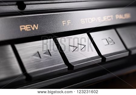 Macro Of A Rectangular Fast Forward Button Of An Old Hifi Stereo Audio System