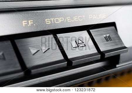 Macro Of A Rectangular Stop / Eject Button Of An Old Hifi Stereo Audio System
