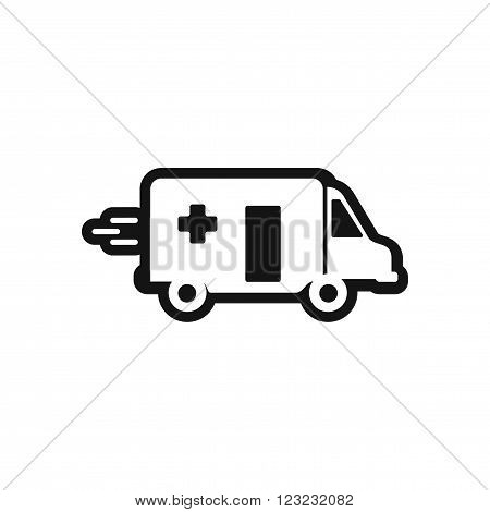 stylish black and white icon ambulance car