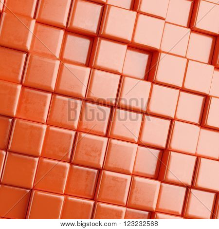 Red Abstract background with cubes. 3d render