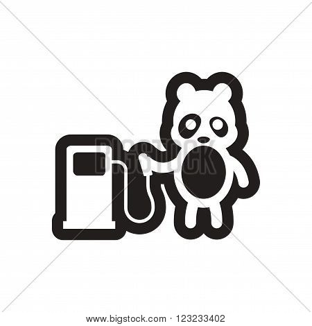 style black and white icon Panda worker refueling