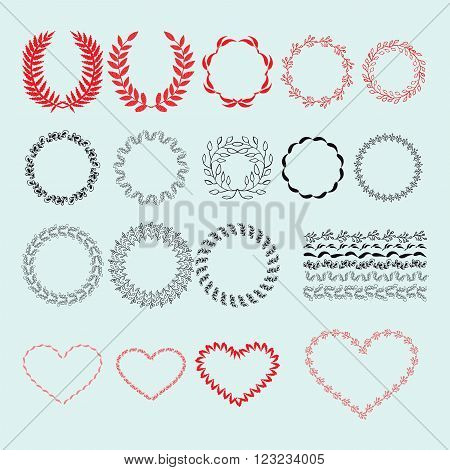 Vector Collection Vintage decorative lovely set of laurels branches and wreaths.