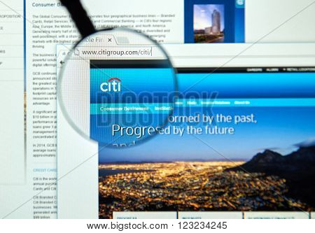 MONTREAL CANADA - MARCH 25 2016 - Citigroup internet page under magnifying glass.