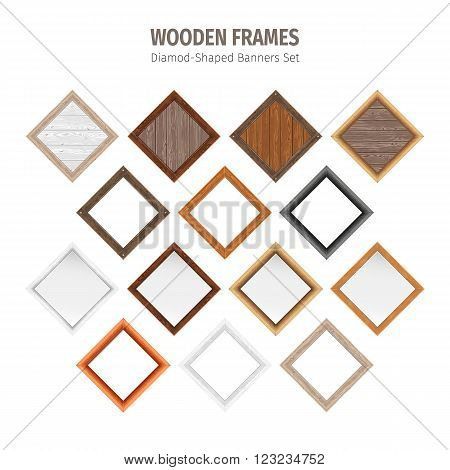 Wooden frames diamond-shaped banners collection. Used pattern brushes included in Brushes panel. Used patterns included in Swatches pannel. Clipping paths included.
