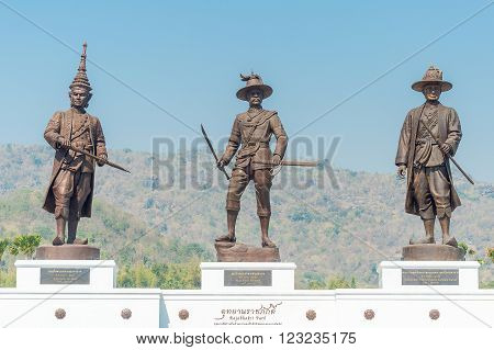 HUA HIN, THAILAND - JANUARY 28: Rajabhakti Park on January 28, 2016 in Hua Hin. Rajabhakti Park is a new tourist attraction displaying giant bronze statues of seven historic Thai kings.