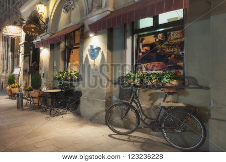 Poland, Krakow - MAY 5: Evening cafe in Krakow on May 5, 2015 in Krakow, Poland