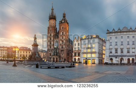 Poland, Krakow - MAY 6: St. Mary's Church. Morning Market Square on May 6, 2015 in Krakow, Poland