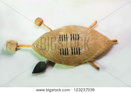 Zulu shield souvenir isolated on white background
