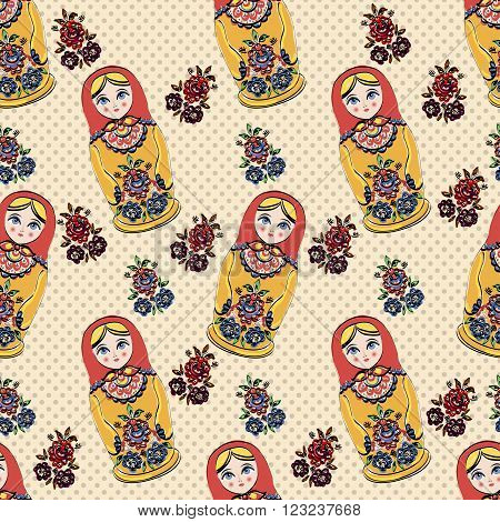Seamless classic folklore pattern of Russian Dolls and different flowers.