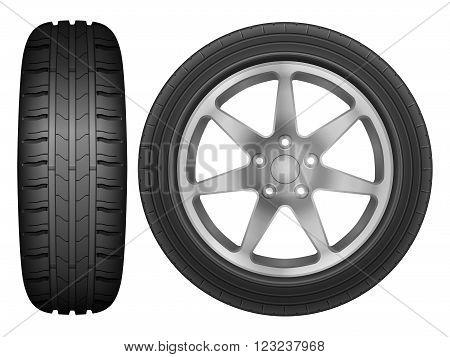 Car wheel rim tire on a white background.