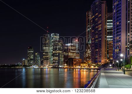 Brisbane central business district at night from the walkway