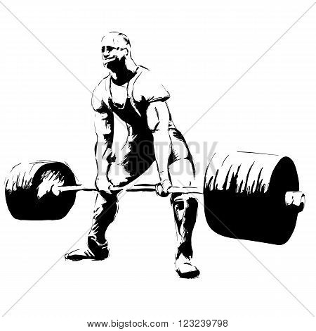 illustratoin sketch Weightlifter with barbell. Deadlift powerlifting
