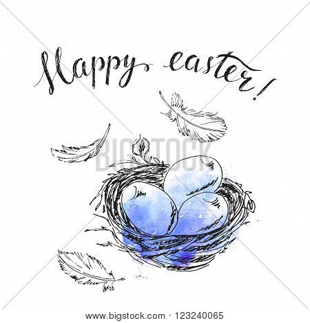 Hand drawn easter card. Ink bird nest easter eggs bird feathers. Happy easter hand lettering. Blue watercolor splash background. Spring design.