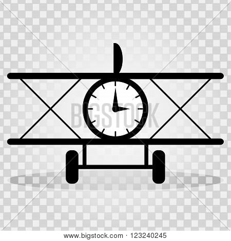 monochrome plane with a clock with a shadow on a light background abstract symbol vector illustration abstract high quality