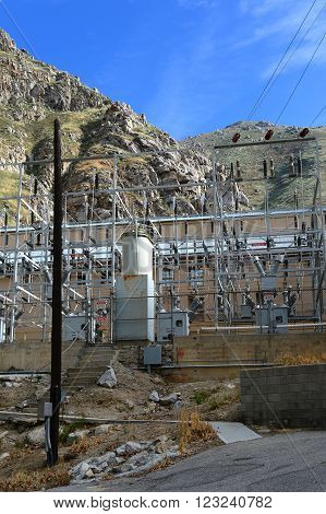 KERN COUNTY, CA - MARCH 25, 2016: The electrical switchyard is next to the powerhouse on the Kern River. Hydroelectric Project #1 is operated by the Southern California Edison Company.