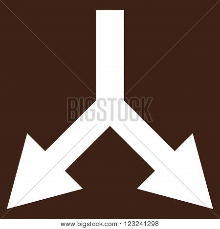 Bifurcation Arrow Down vector icon. Image style is flat bifurcation arrow down pictogram symbol drawn with white color on a brown background.