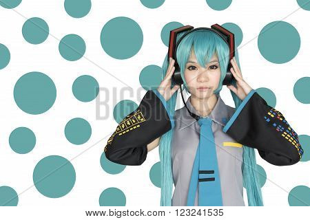 Japan anime cosplay with green abstract background