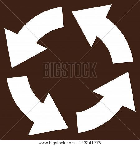 Circulation vector icon. Image style is flat circulation pictogram symbol drawn with white color on a brown background.