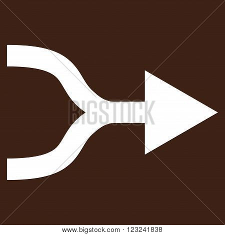 Combine Arrow Right vector icon. Image style is flat combine arrow right pictogram symbol drawn with white color on a brown background.