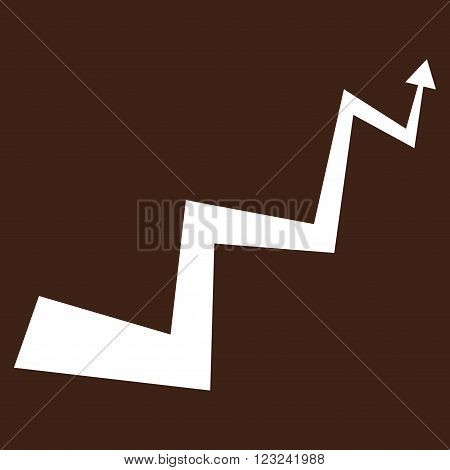 Curve Arrow vector icon. Image style is flat curve arrow pictogram symbol drawn with white color on a brown background.