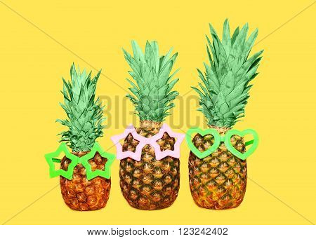 Three Pineapple And Sunglasses On Yellow Background, Colorful Ananas Photo