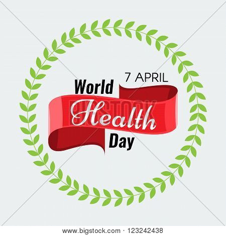 Creative 7 April - World Health Day Greeting stock vector. Red ribbon. Solid flat color design for Health Day concept.
