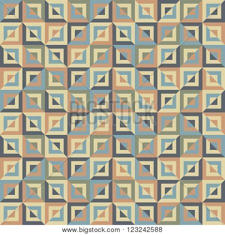 Abstract seamless pattern of colored divided square blocks. Numerous squares of decreasing sizes placed one inside another. Motley graphic print for stylish modern design. Vector illustration